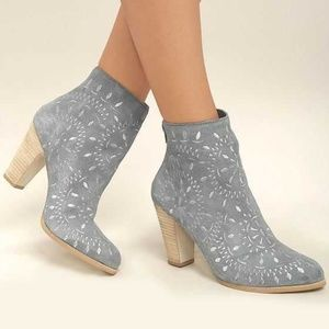 MATISSE SPRINGFIELD Blue Embroidered Ankle Boots